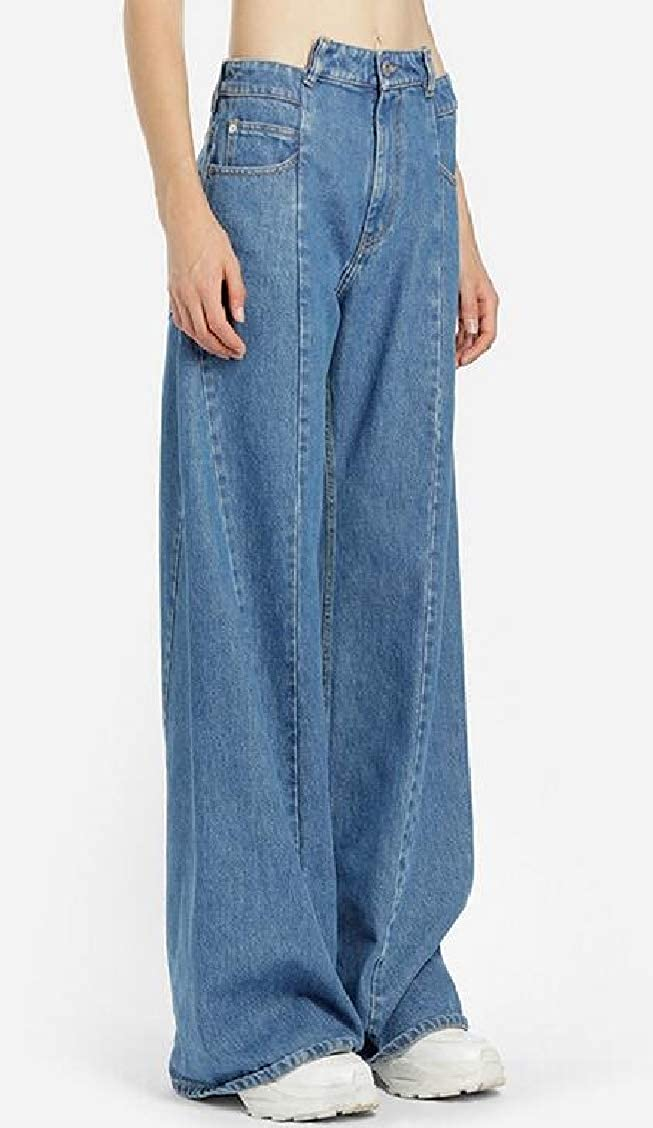 pipigo Women Wide Leg Irregular Jean Washed Casual Palazzo Pants