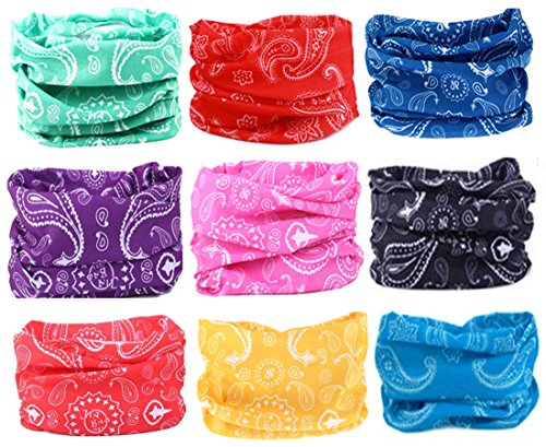 Kalily Pack of 9pcs PAISLEY UV Head Band Bandana Protective Multi-use Seamless Breathable Neck and Head Tube Gaiter
