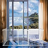 Bonnlo 120-Inch Metal Fireplace Fence Guard 5-Panel Baby Safety Gate/Barrier/Play Yard with Door Christmas Tree Fence Hearth Gate for Kids/Pet/Toddler/Dog/Cat, White