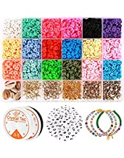 Clay Flat Beads, Polymer Clay Beads, 5000 pcs 6mm Round Clay Spacer Beads, Disc Beads for Jewelry Making, Heishi Beads Bracelet Necklace Earring Making Kits, Disk Beads, Arts&Crafts DIY Kits Gift