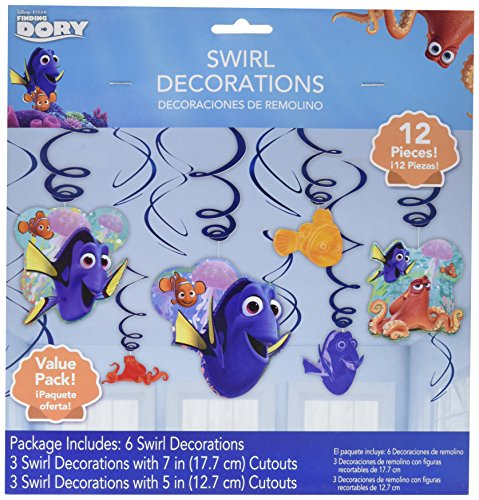 Finding Dory Hanging Swirls (12 Pack) (Finding Nemo Birthday Party Decorations)