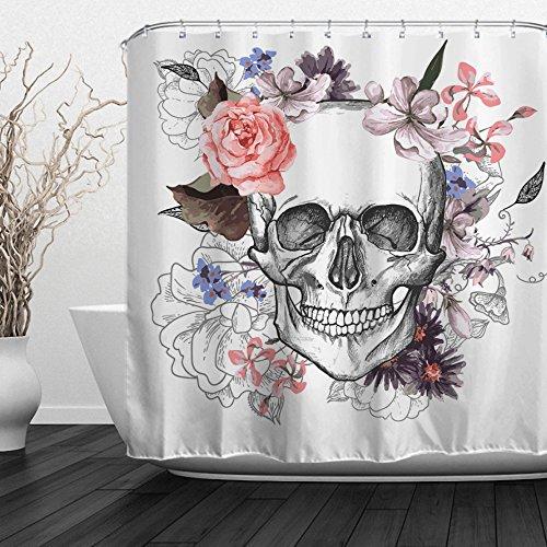 ALFALFA Skulls Shower Curtain, Bathroom Decorative Curtain, Skull and Flowers Design, Waterproof Fabric, Hooks Included, 72