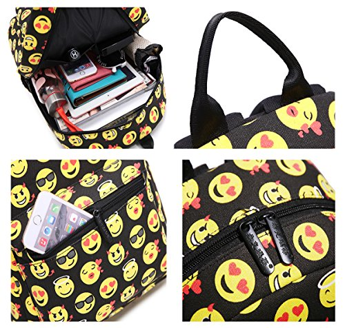C Backpack For Tibes Girls Backpack Funny Cute Canvas Emoji Black wqZFYZOx