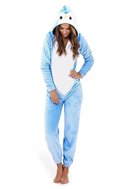 Koo-T - Pijama de una pieza - para mujer Blanco Blue Penguin