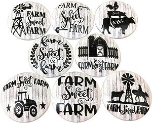 Set of 8 Black and White Farmhouse Wood Cabinet Knobs (Farm Sweet Farm)