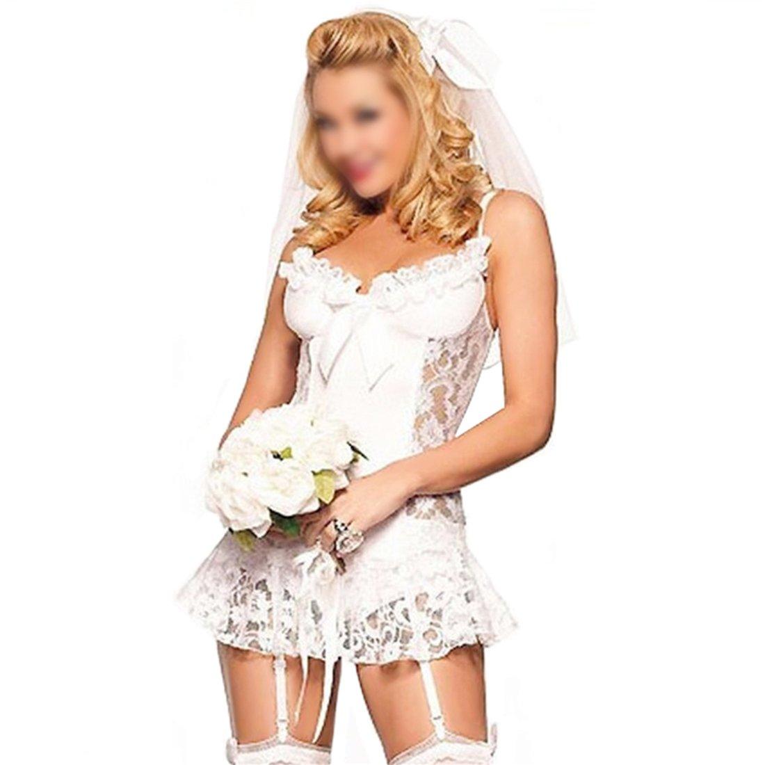 GWELL Damen Braut Kostüm Reizvolles Cosplay Reizwäsche 4-teilige Lingerie Dessous Set Babydoll mit Kopfschmuck Unterhose Stumpfhalter Weiß S