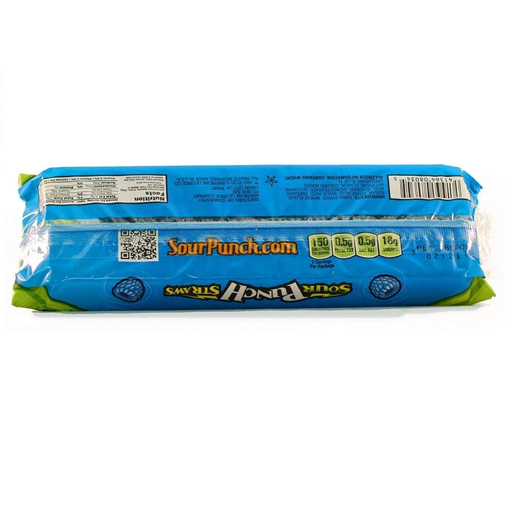 Sour Punch Straws, Blue Raspberry Fruity Flavor, Soft & Chewy Candy, 4.5oz Tray (24 Pack) by Sour Punch (Image #2)