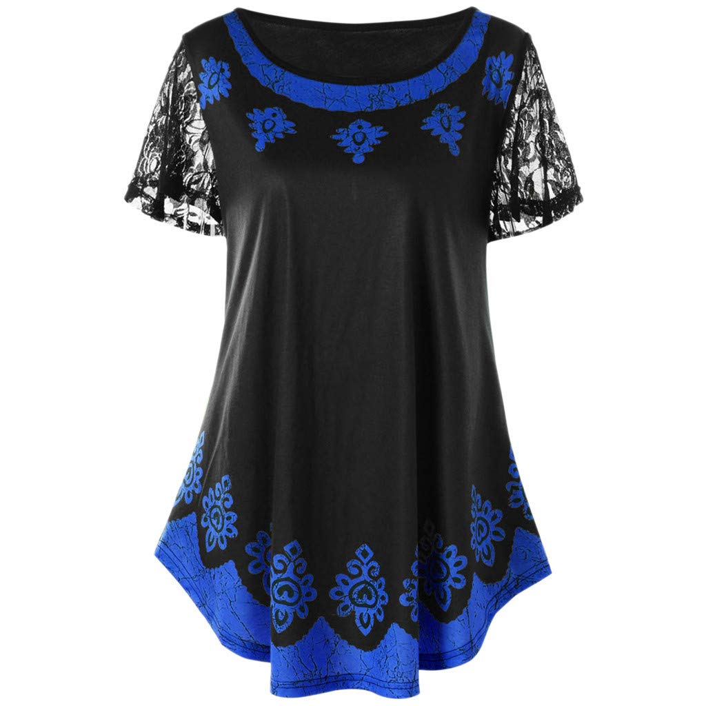 Women Top Shirt Casual Lace Plus Size Tribal Print Fashion T-Shirt Tops Blouse