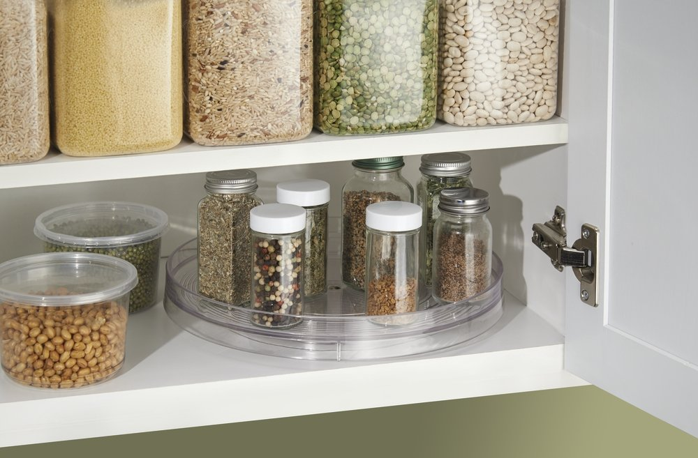 Amazon.com   MDesign Lazy Susan Turntable Spice Organizer For Kitchen Pantry,  Cabinet, Countertops   Large, Clear