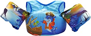 Linkin Sport Kids Swim Float Vest Toddler Swim Vests 30-50 lbs (Pirates Shark, 30lbs-50lbs)