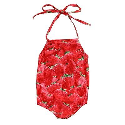 Necoip Baby Girls Strawberry Print Swimwear Swimsuit Kid Bikini Bathing Suit Beachwear