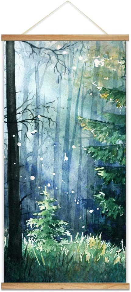 "NWT Hanging Poster NO Magnetic Wooden Framed, Beautiful Green Life Forest Home Wall Canvas Prints Decoration Ready to Hang - 18""x36"""