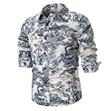 vermers Clearance Personality Mens Tops Summer Casual Slim Long Sleeve Printed Blouse Shirts(4XL, Multicolor)