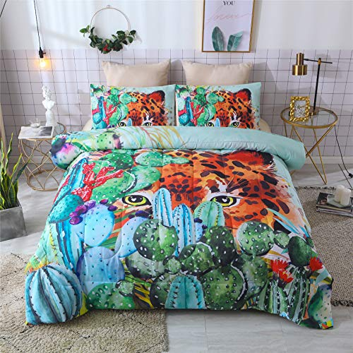 A Nice Night Botanical 3D Tropical Hidden Leopard in Green Succulent Cactus Plants Printed Comforter Sets Qulit Bedding Sets (Succulent Plants) ()