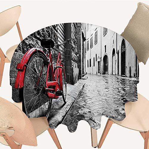 Dragonhome Round Premium Table Cloth Classic Bike on Cobblestone Street in Italian Town Leisure Charm Artistic Photo Red Perfect for Indoor, Outdoor, 67 INCH Round