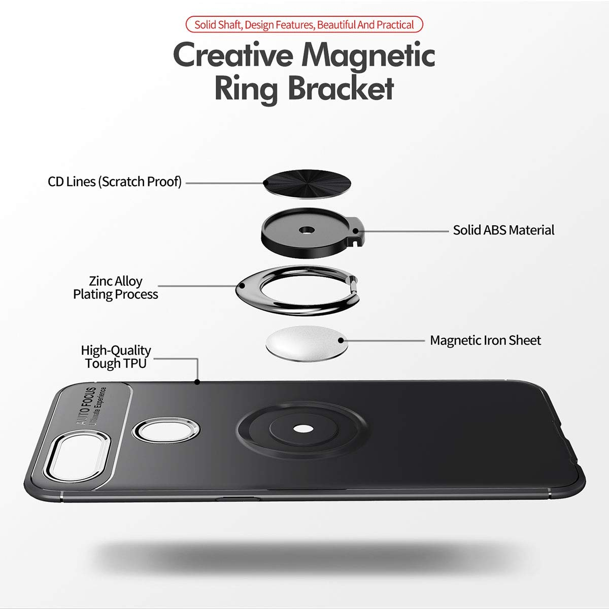 Compatible with Magnetic Car Bracket Yoodi 360/° Ring Holder Kickstand Slim Case Oppo F9 Case Soft Silicone Shock Absorption Cover for Oppo F9//F9 Pro 6.3 Red Red