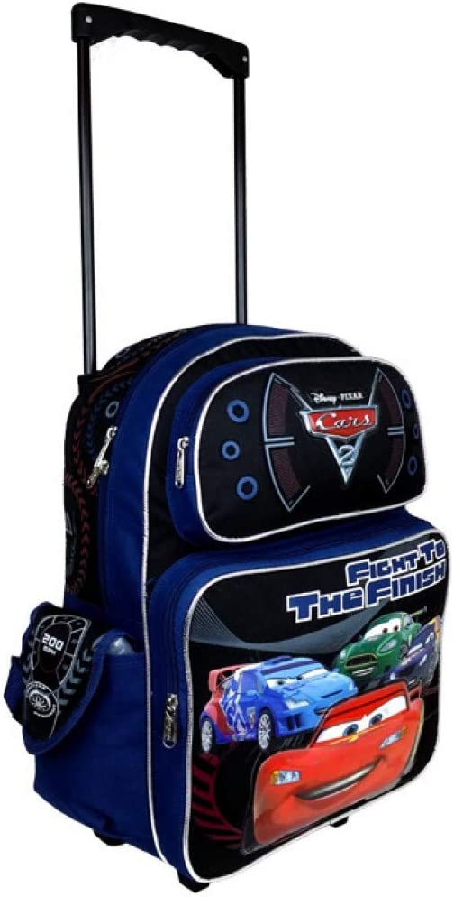 "Disney Pixar Cars 2 Boys 16/"" Blue School Rolling Backpack Fight to the Finish"