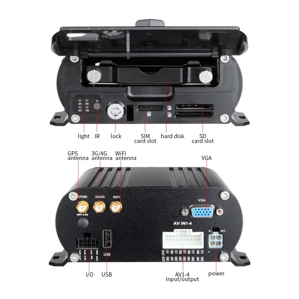 3G + GPS + WIFI, GISION 4CH móvil AHD DVR Grabador de audio / video en tiempo real con visión remota + 4pcs Cámaras AHD 2.0MP + Kit de vigilancia de cables ...