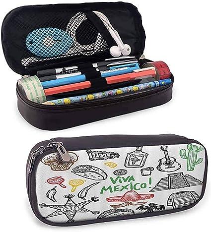Estuche de lápices mexicano Boceto Objeto latino con burritos Guitarra Tequila Botella Piñata Quetzal Coati: Amazon.es: Oficina y papelería
