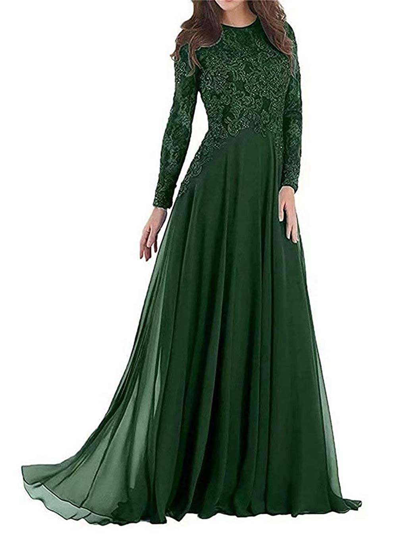 Dark Green Pretygirl Women's Elegant Lace Mother of The Bride Dress Evening Dress Prom Gown for Wedding