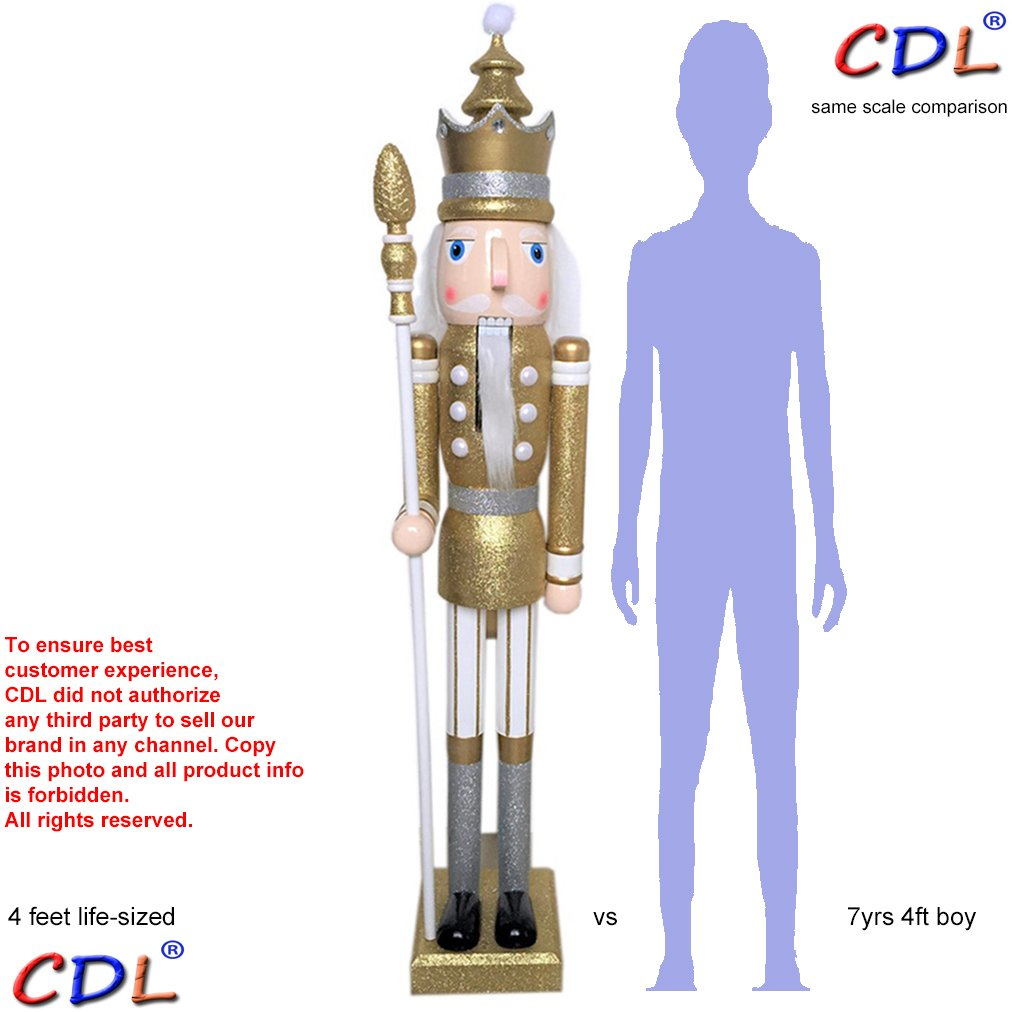 CDL 48'' 4ft tall life-size large/giant gold glitter Christmas wooden nutcracker king ornament on stand holds scepter for indoor outdoor Xmas/event/wedding party decoration K29 by ECOM-CDL