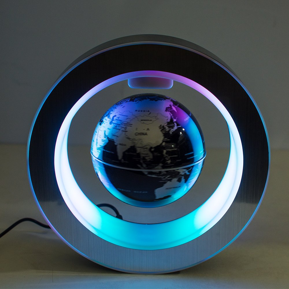 Vinmax 4 Inch High Rotation Magnetic Suspension Levitation Globe With LED Light Electronic Floating Globe for Learning Education Teaching Demo Home Office Desk Decoration Black