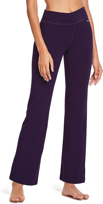 BALEAF Women's Bootcut Regular/Tall High Waisted Yoga Pants Bootleg Jazz Cotton Pants : Clothing