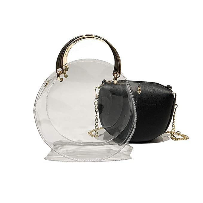 Image Unavailable. Image not available for. Color  Round Clear Crossbody  Bag Messenger Handbag Tote Shoulder Purse ... 0cd271c9dd21b