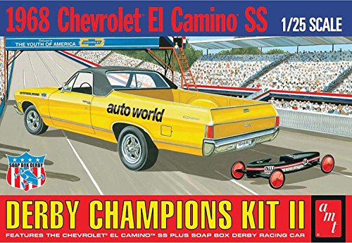 AMT 1018 1968 Chevrolet El Camino SS Derby Champions Kit II 1:25 Scale Plastic Model Kit - Requires Assembly (Model 25 Plastic Scale)