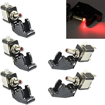 Carbon Fiber Cover Car Truck Red LED Rocker Toggle Switch On//OF SPST Control
