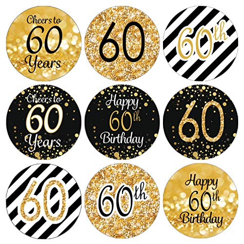 DISTINCTIVS Black and Gold 60th Birthday Party Favor Labels | 216 Stickers