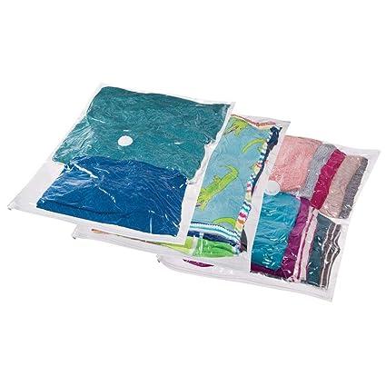 mDesign Juego de 3 bolsas al vacío para ropa (grandes) – Bolsas para guardar ropa al vacío en armarios, cajones y cómodas – Bolsas ahorra espacio ...