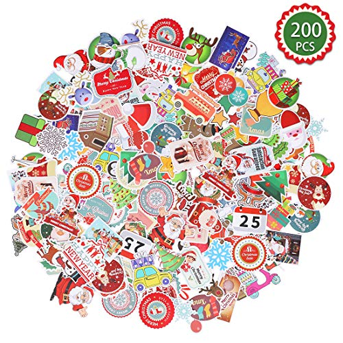 Max Fun 200pcs Christmas Stickers Decorations for Kids Xmas Party Favors Envelopes Gifts Tags Crafts Windows Snowboard (Christmas Stickers)