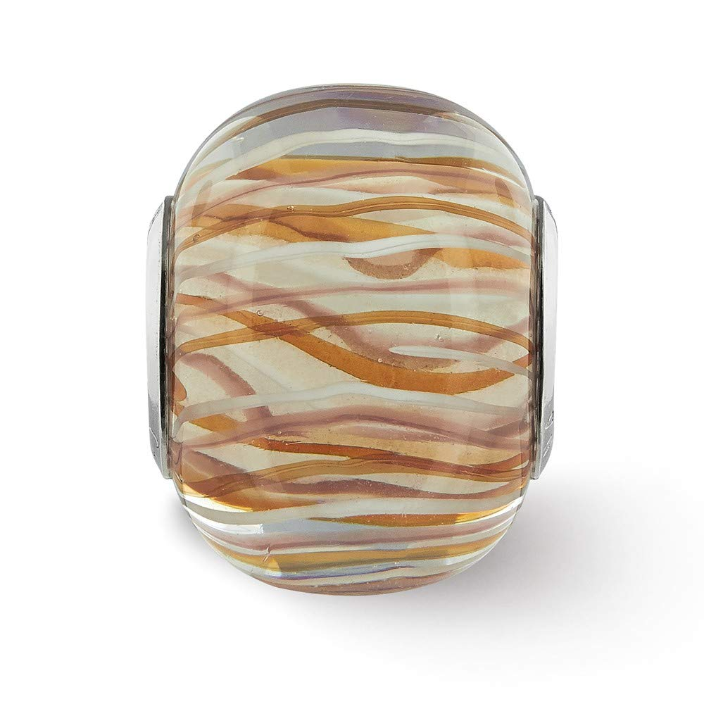 Jewelry Beads Glass Beads Sterling Silver Reflections Brown and White Striped Glass Bead