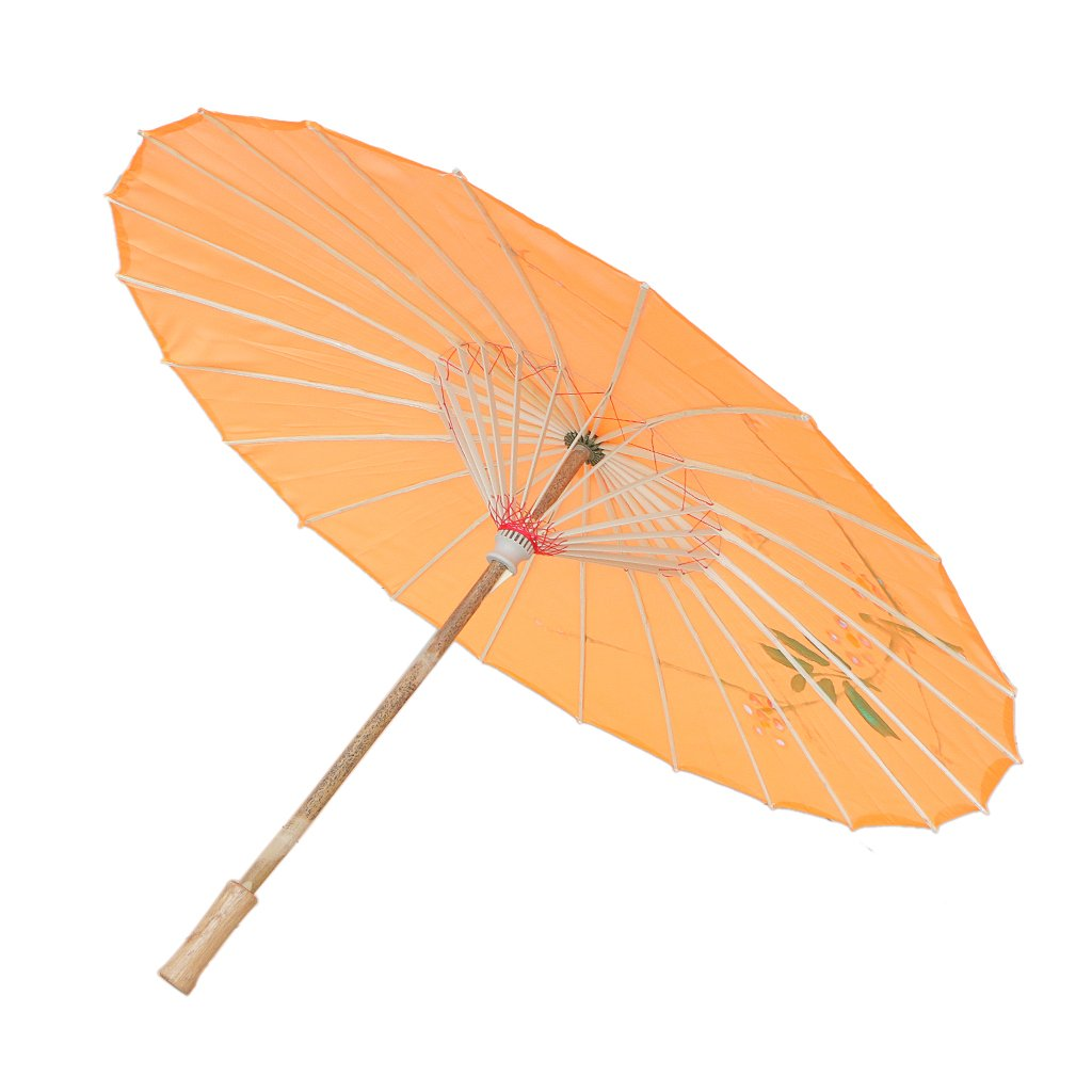 MagiDeal Chinesischen Regenschirm - Asiatischen Sonnenschirm - Tanz Schirm - Tanzen Requisiten - Handgemacht - aus Stoff - Orange STK0156016941