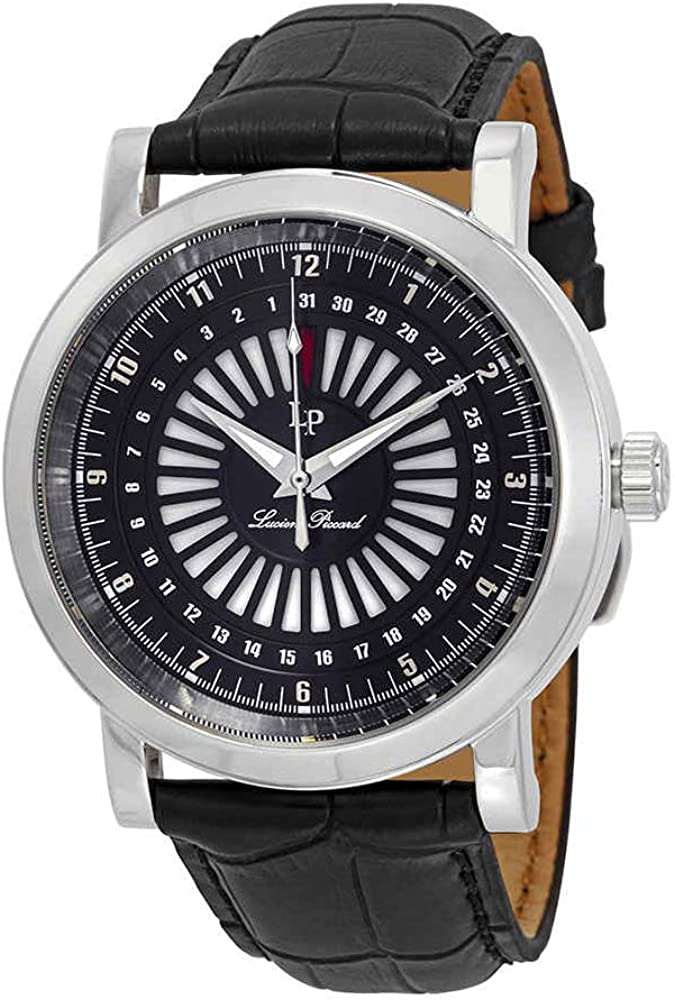 Lucien Piccard Men s Ruleta Quartz Stainless Steel and Black Leather Casual Watch Model LP-40014-01