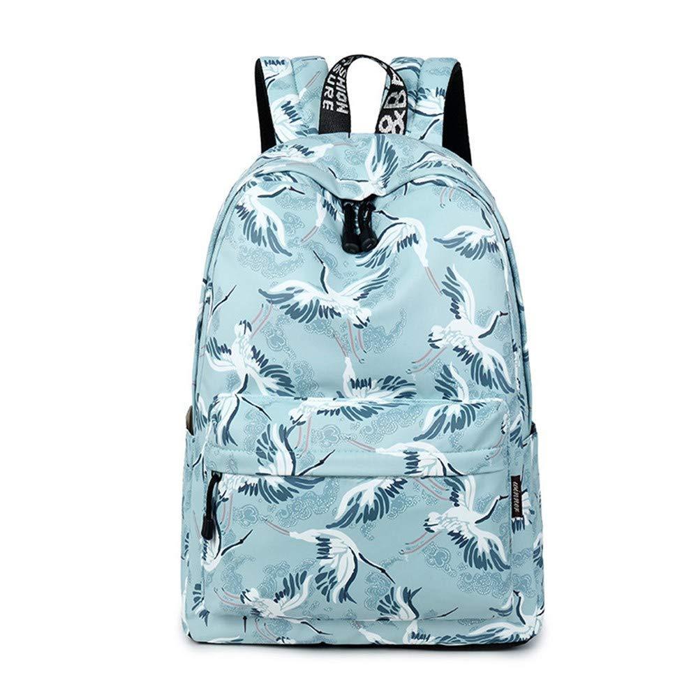 bluee DYR Casual Waterproof Women Backpack Cute Pattern Printing Lady Large pacity Bags Girls College Rucksack,bluee
