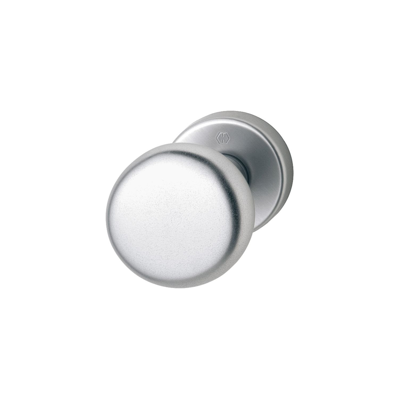 HOPPE Tü r-Knauf auf runder Rosette | Zylinderform | Aluminium silber eloxiert | Fix-Knopf | 1 Stü ck 814787