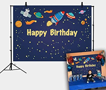 DANIU Blue Space Galaxy Stars Background Cartoon Rocket Universe Starry Space Birthday Party Backdrop Boy Girl Baby Showers Cake Table Decoration ...