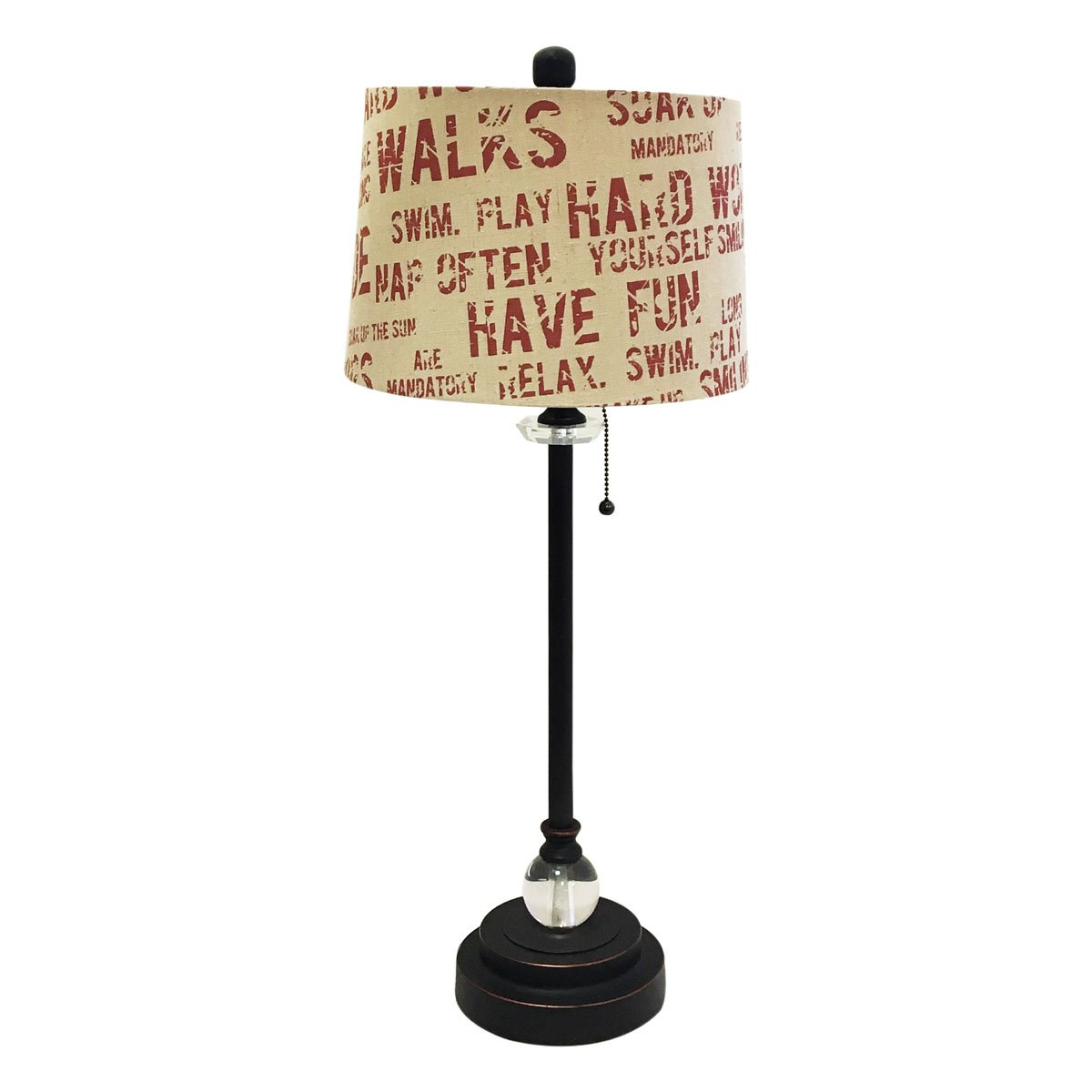 Royal Designs 28'' Crystal and Oil Rub Bronze Lamp with Cream and Red Relaxing Phrase Print Drum Hardback Lamp Shade