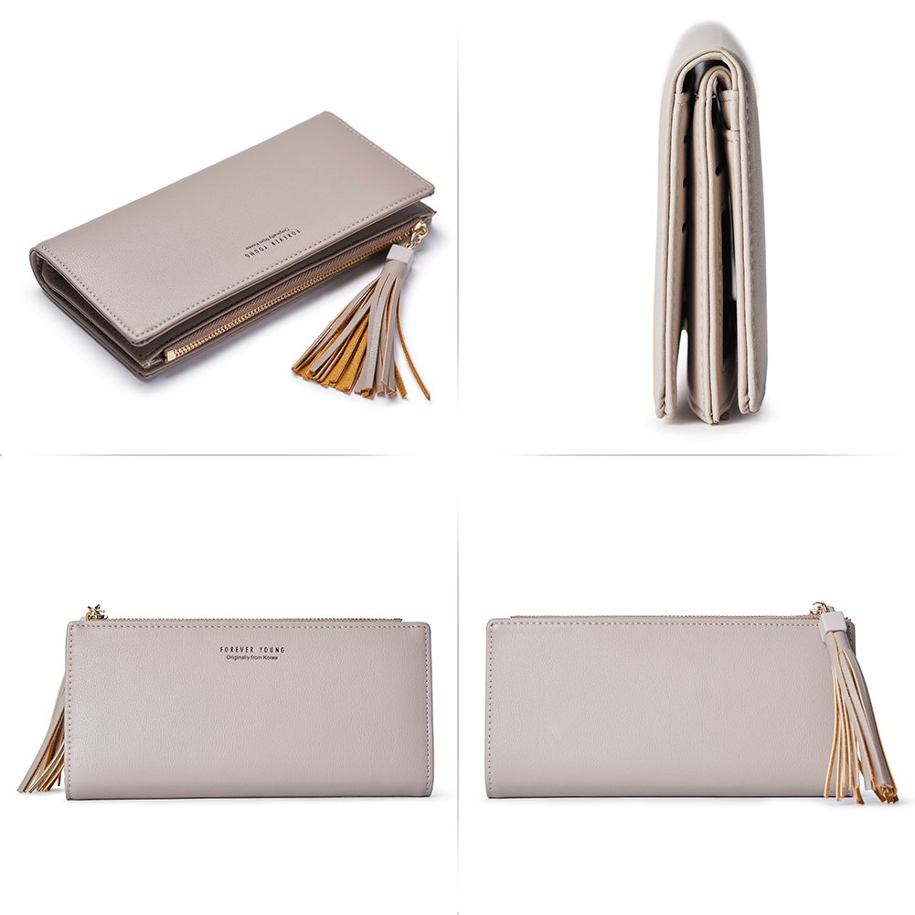 Wallets for Women Fashion Soft Leather Billfold Long Clutch Ladies Credit Card Holder Organizer Purse gray by Romere (Image #5)