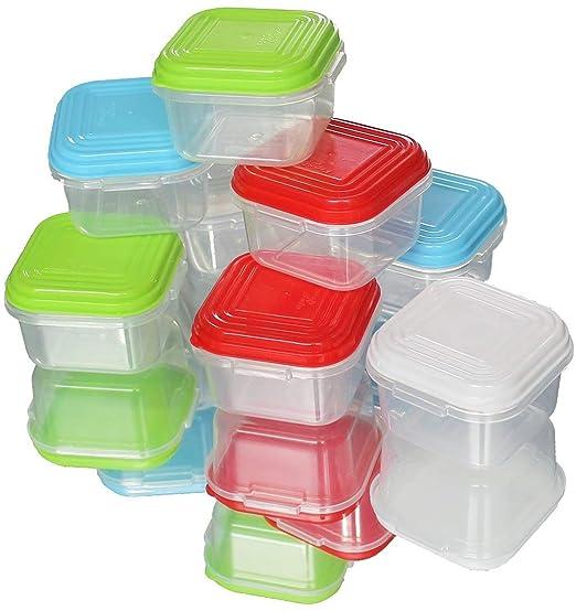 ARSUK Juegos de recipientes 8pcs mini, Contenedores de plástico reutilizables sin BPA, apilables, apilables, apilables, apilables, aptos para ...