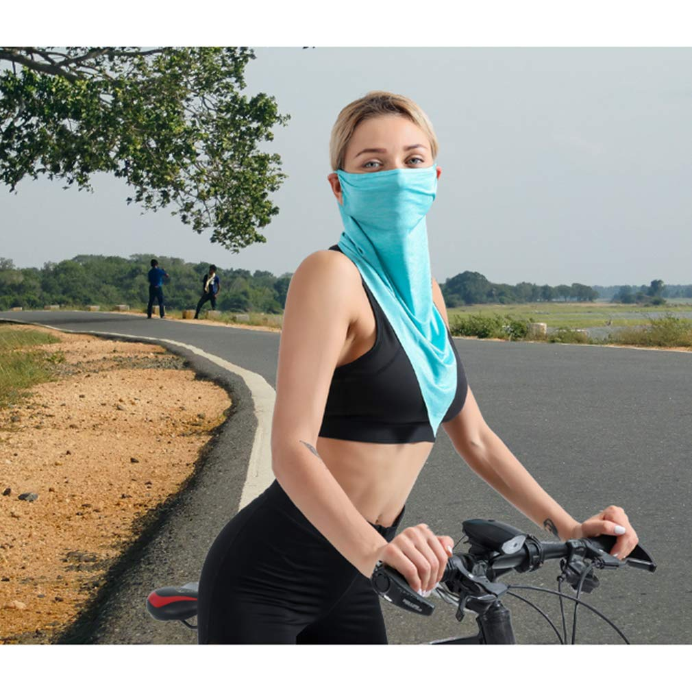 Summer Ice Silk Cooling Sport Scarf,Sun Face Protection Mask Neck Gaiter Balaclava Magic Scarf For Motorcycle Fish Hiking Boat Outdoors (light gray+green(basic style))