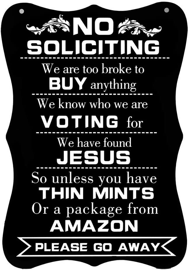 "Calien No Soliciting Sign Hanging 12"" X 8"" Large No Soliciting Funny Signs for House Door Office Business"