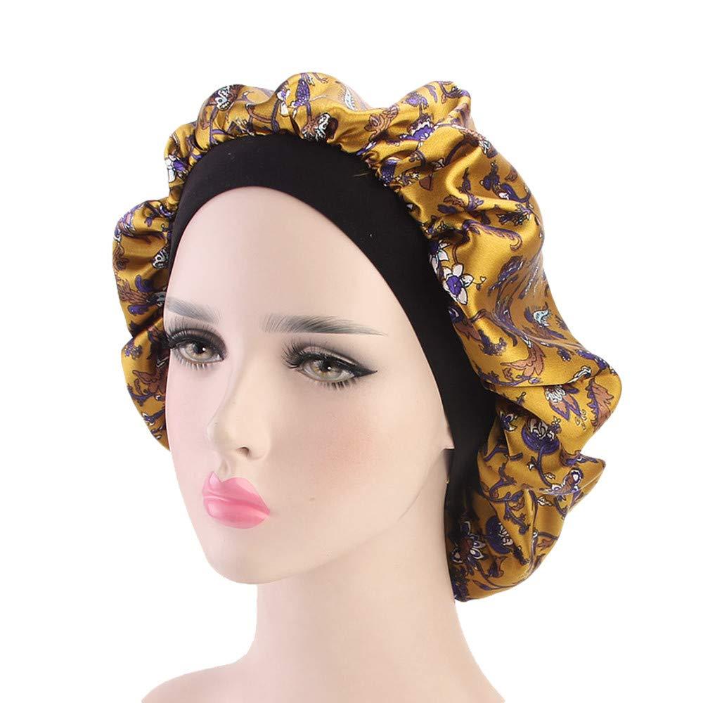 Ganenn SUKEQ Women Soft Satin Night Sleep Cap Salon Bonnet Luxury Wide Band Hair Loss Cap Chemotherapy Hat Cap (Yellow)