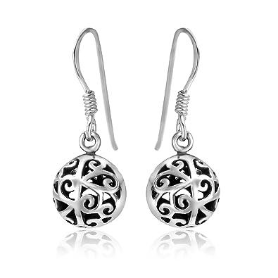 Sterling silver Tree of Life Earrings - Filigree ball Earrings - double sided - Size: 8.5mm 6159. Gift Boxed 3E3ZI