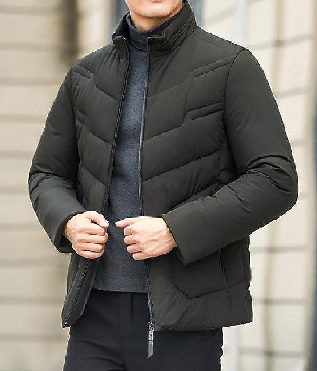 Zimaes-Men Warm Puffer Full-Zip Outwear Short Style Winter Stand Collar Down Coat