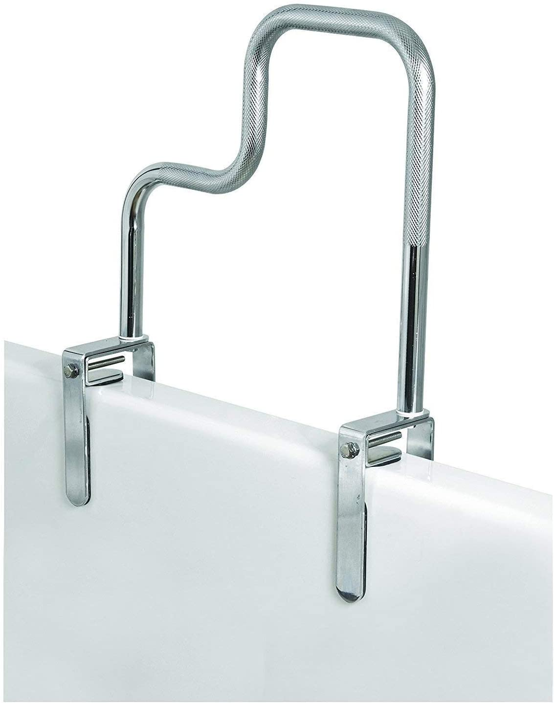 Carex Tri-Grip Bathtub Rail with Chrome Finish - Bathtub Grab Bar Safety Bar For Seniors and Handicap - For Assistance Getting In and Out of Tub, Easy to Install on Most Tubs: Health & Personal Care