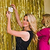 Guass Metallic Gold Fringe Curtain Backdrop - 2
