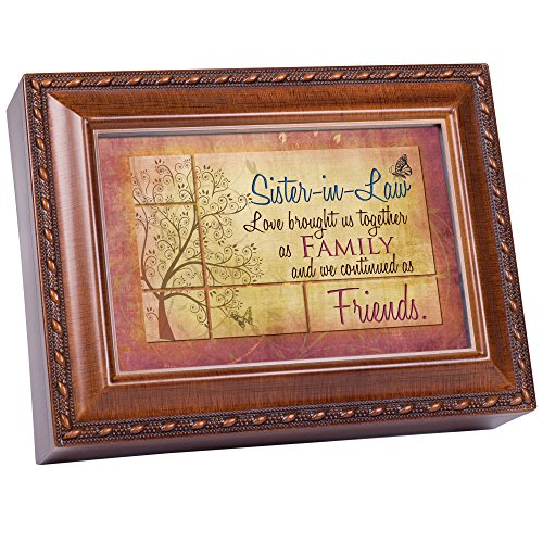 Cottage Garden Sister-in-Law Rich Woodgrain Finish with Rope Trim Jewelry Music Box - Plays Song That's What Friends are for (Music Box Plays In The Garden)